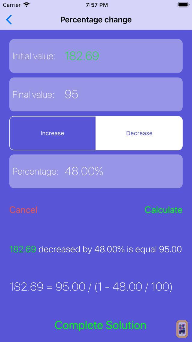 Screenshot - Percentage Solver