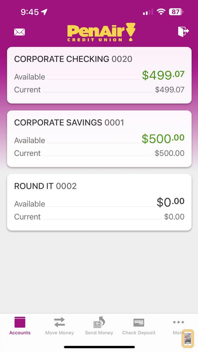 Screenshot - Pen Air FCU Mobile
