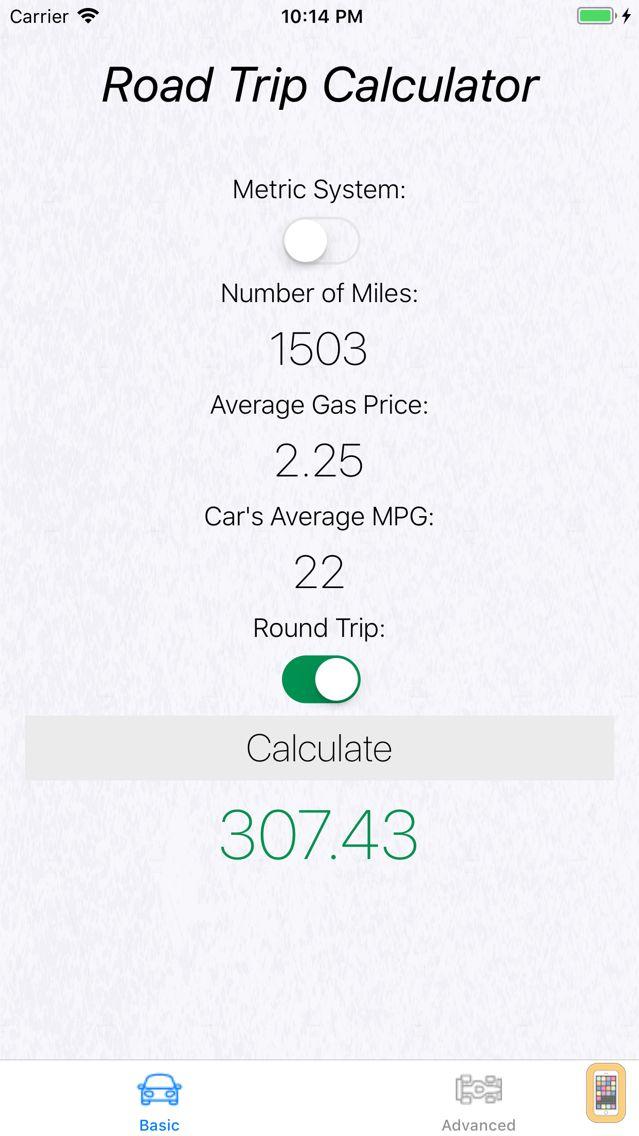 Screenshot - Road Trip Gas Cost