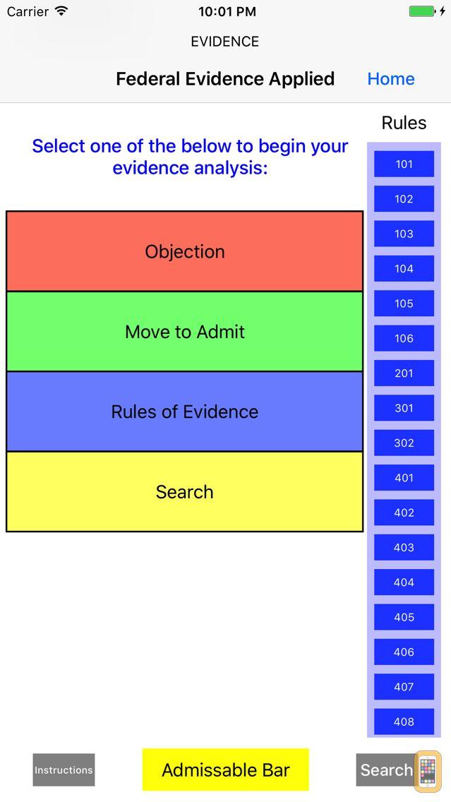 Screenshot - Federal Evidence Applied