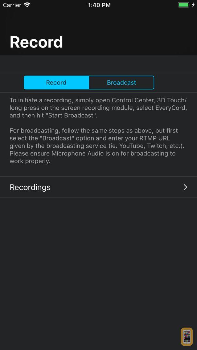 Screenshot - EveryCord - Record & Broadcast