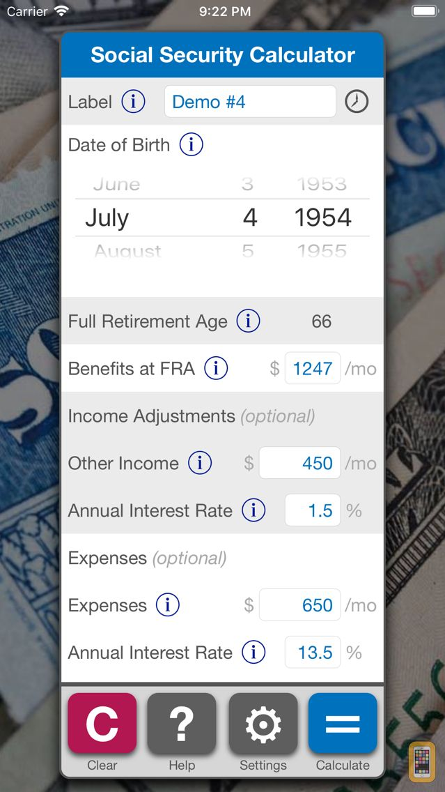 Screenshot - Social Security Calculator