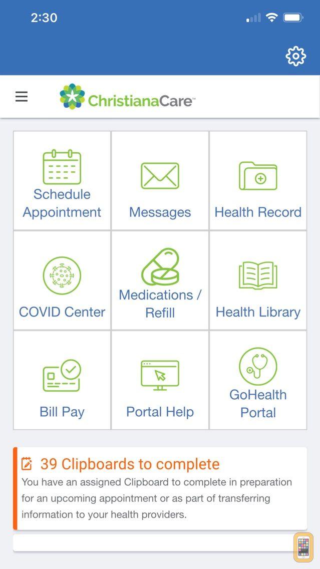 Screenshot - Christiana Care Patient Portal