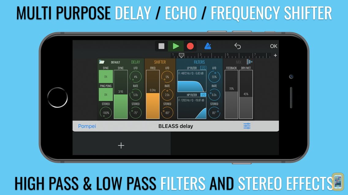 Screenshot - BLEASS delay AUv3 Audio Plugin