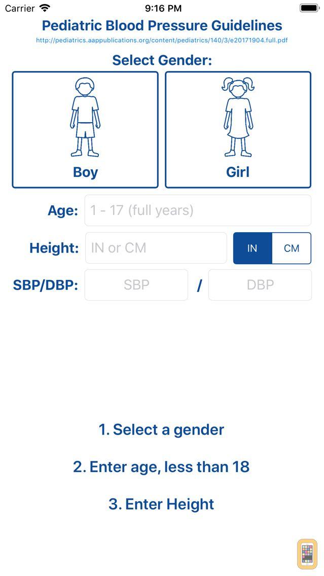 Screenshot - Peds Blood Pressure Guide