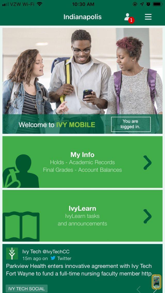 Screenshot - Ivy Tech Mobile