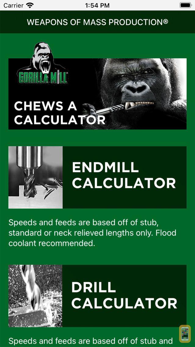 Screenshot - Gorilla Mill Speeds and Feeds