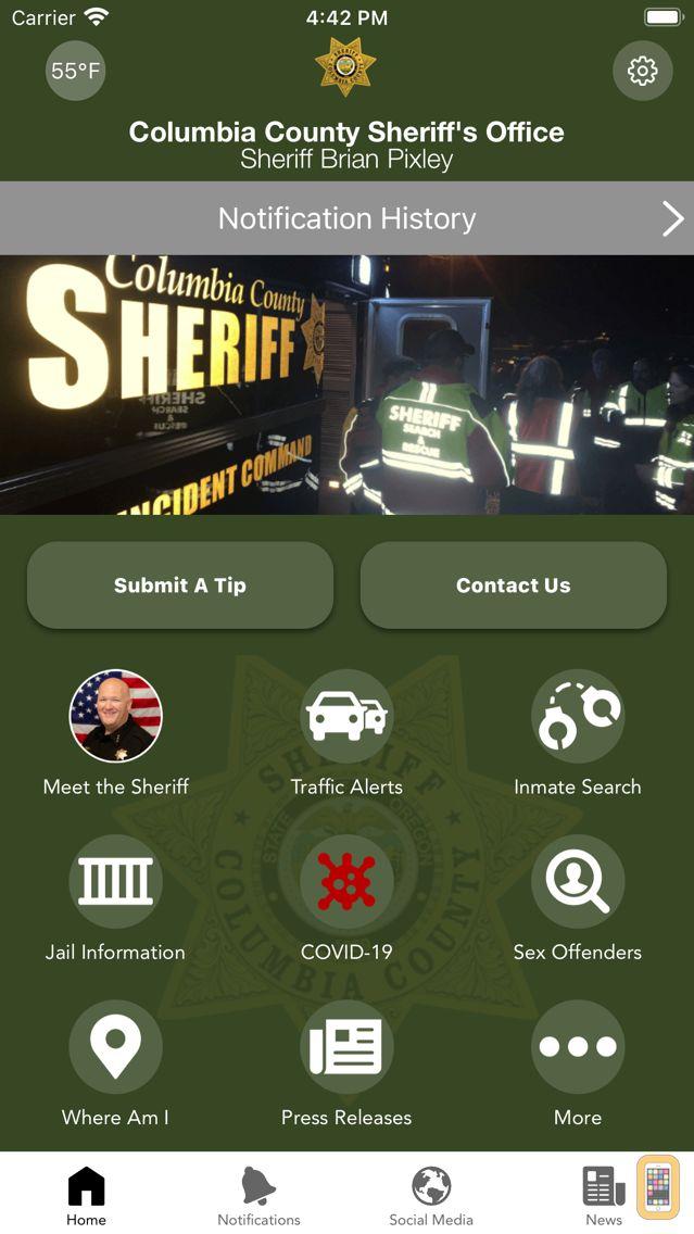 Screenshot - Columbia County Sheriff