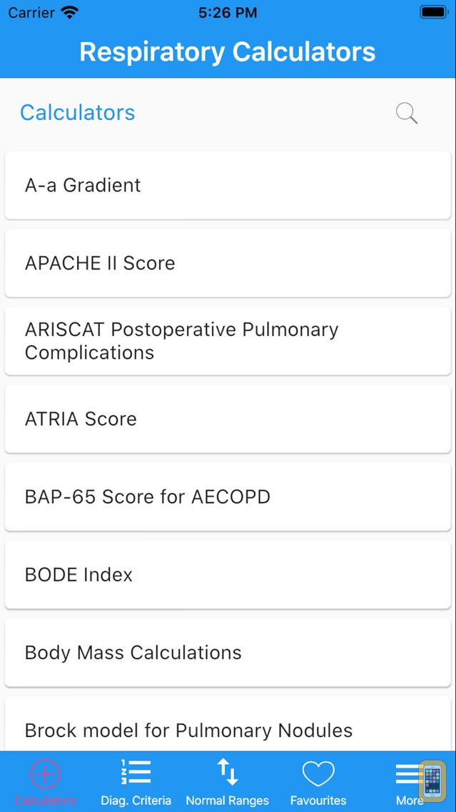 Screenshot - Respiratory Calculators