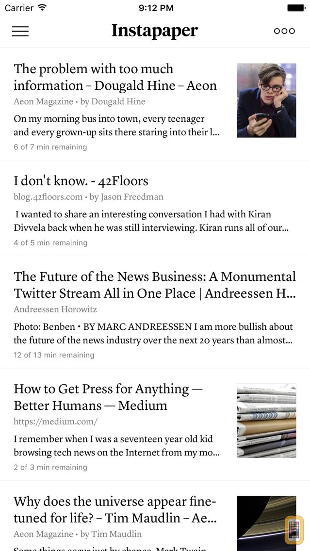 Screenshot - Instapaper