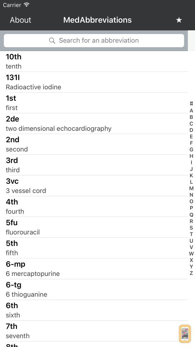Screenshot - MedAbbreviations