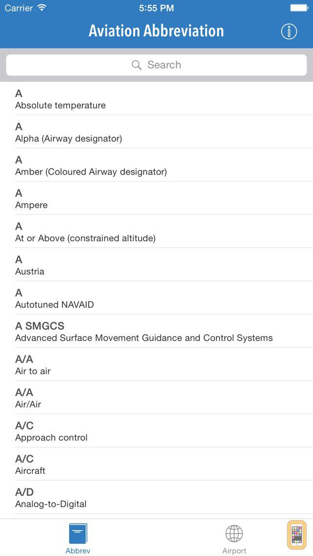 Screenshot - AviationABB - Aviation Abbreviation and Airport Code