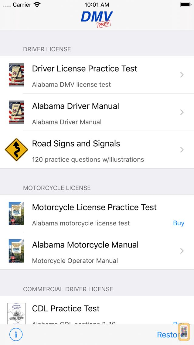Screenshot - Alabama DMV Test Prep