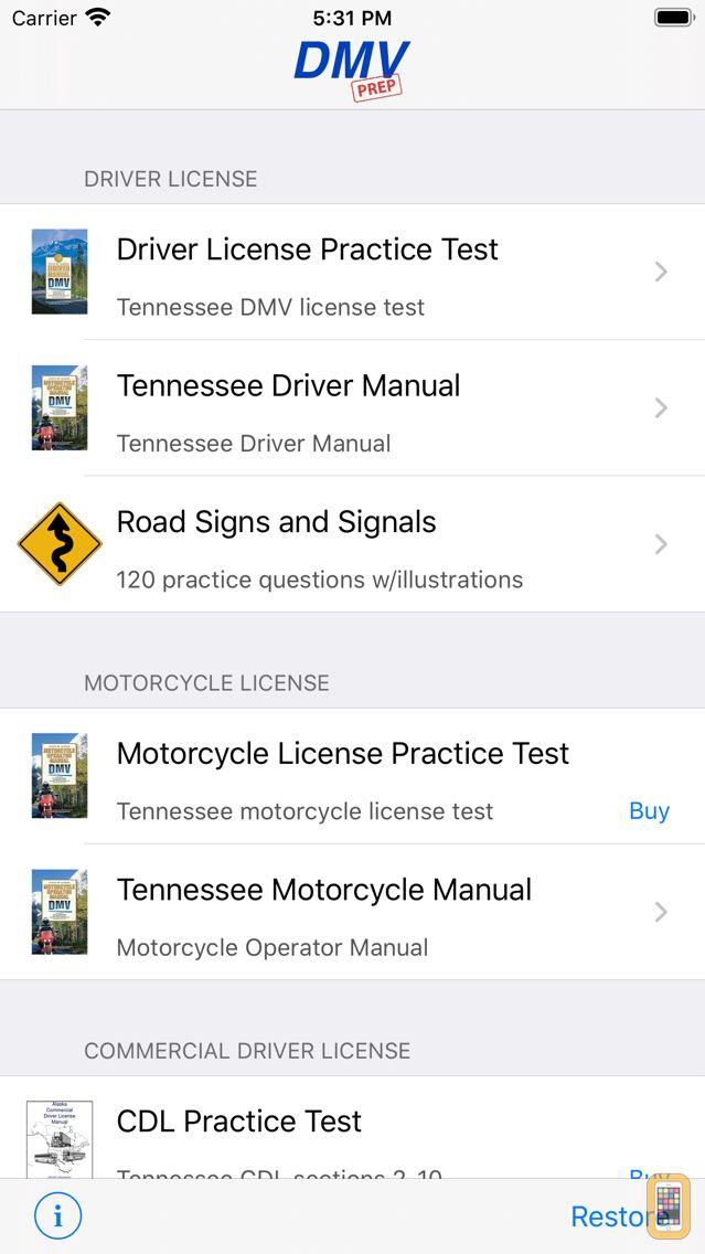 Screenshot - Tennessee DMV Test Prep