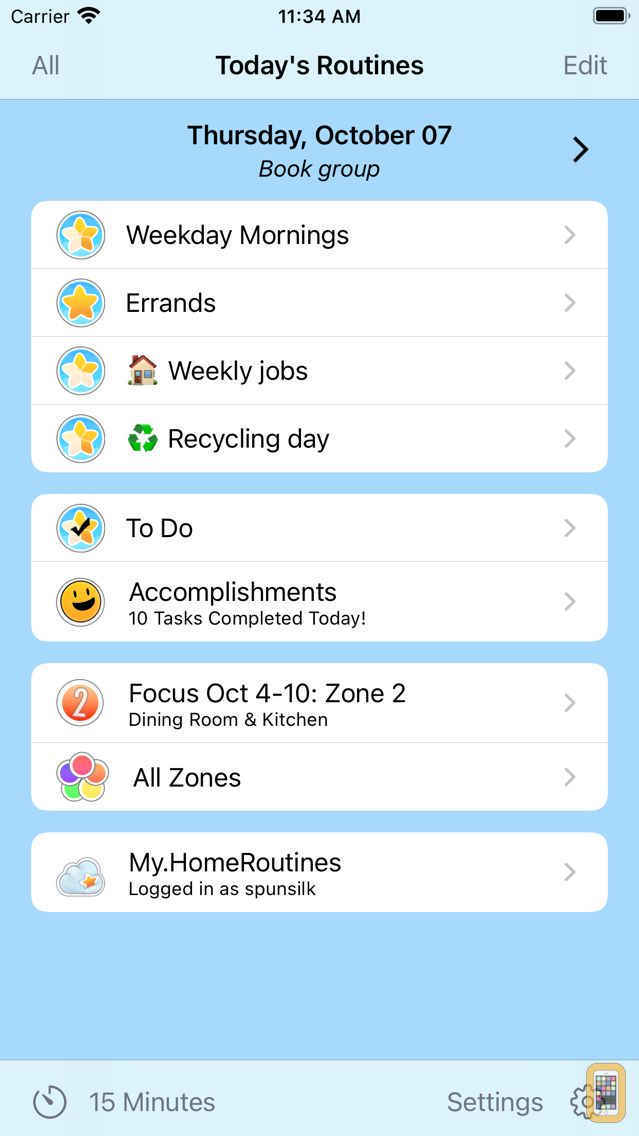 Screenshot - Home Routines