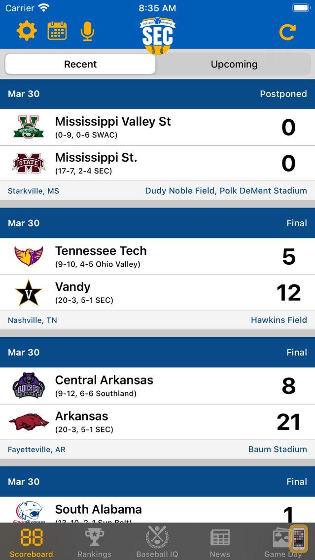 Screenshot - SEC Baseball