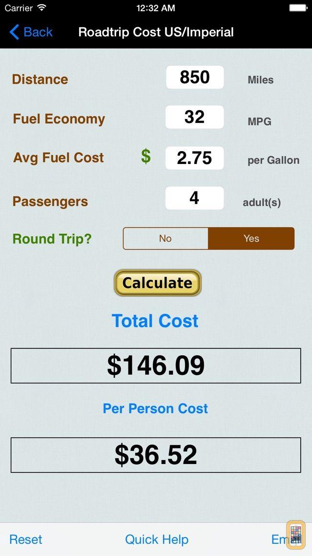 Screenshot - Roadtrip Gas Cost Calculator