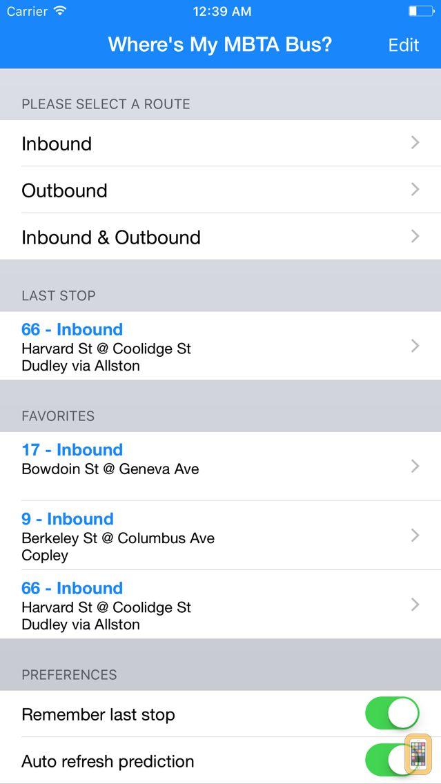 Screenshot - Where's my MBTA Bus?