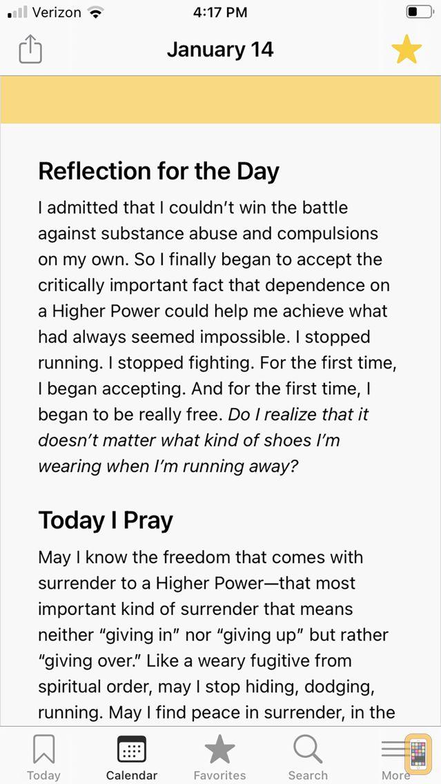Screenshot - A Day at a Time Meditations