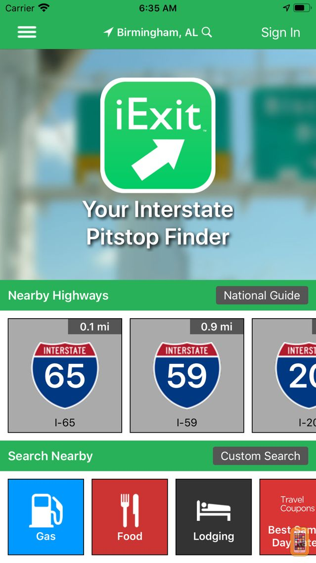 Screenshot - iExit Interstate Exit Guide
