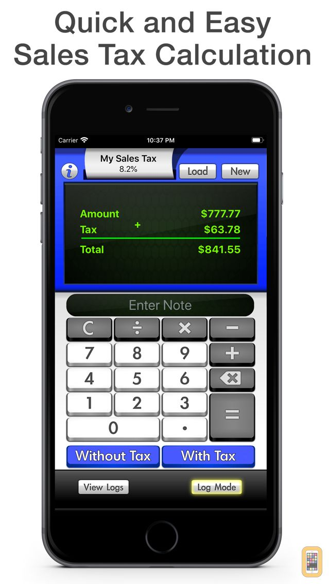 Screenshot - Sales Tax Calculator with Reverse Tax Calculation - Tax Me Pro - Checkout, Invoice and Purchase Log