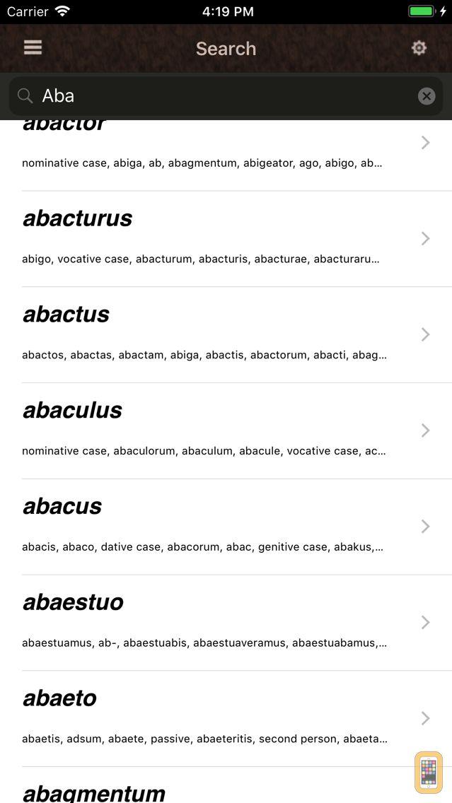 Screenshot - Latin Lexicon Dictionary