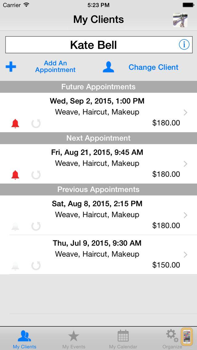 Screenshot - My Book of Clients Salon