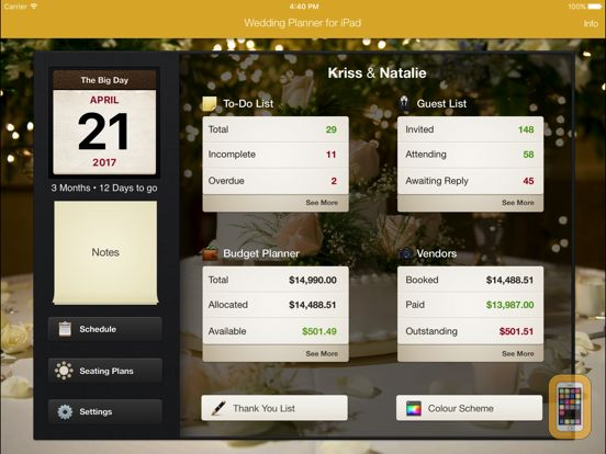 Screenshot - Wedding Planner for iPad