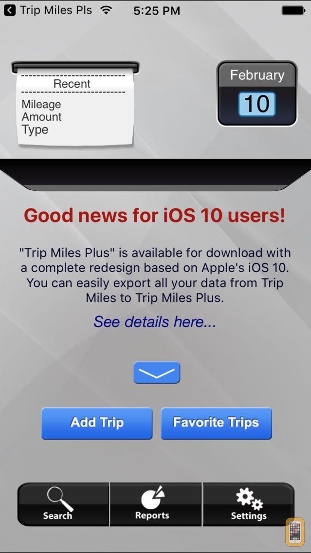 Screenshot - Trip Miles (IRS Mileage log)