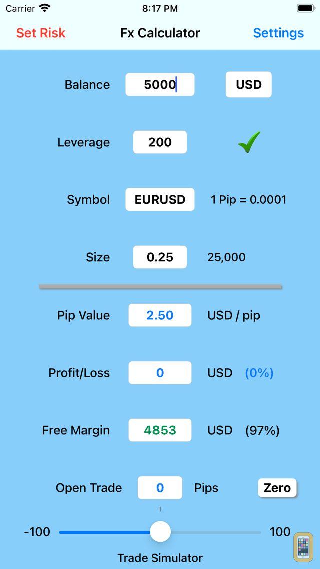 Screenshot - Forex Trade Calculator