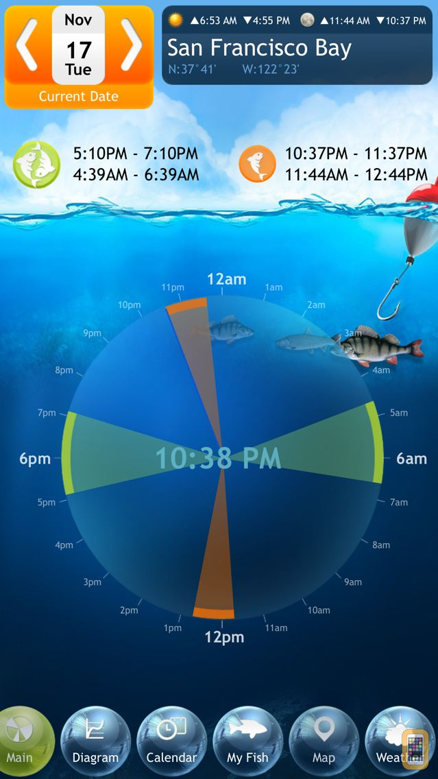 Screenshot - Fishing Deluxe - Best Fishing Times Calendar
