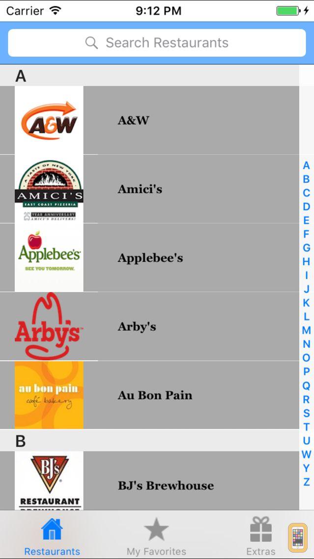 Screenshot - Gluten Free Restaurant Items