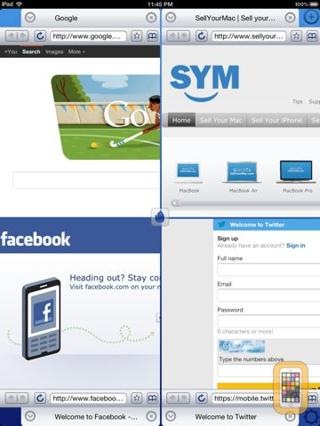 Screenshot - Quad Screen Browser Free - 1, 2, 3, 4 browsers at the same time!