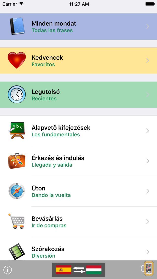 Screenshot - Magyar / Spanyol kifejezéstár - Spanish / Hungarian phrasebook - Multiphrasebook