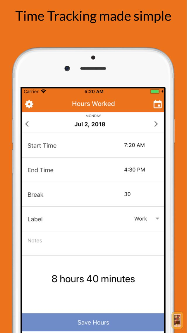Screenshot - Hours Worked Time Tracker