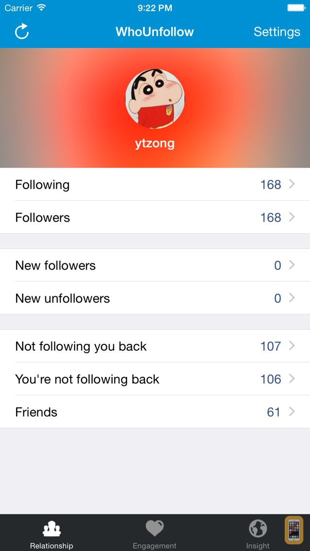 Screenshot - WhoUnfollow for Instagram - Find Who Unfollowed You (Unfollow Tracker)