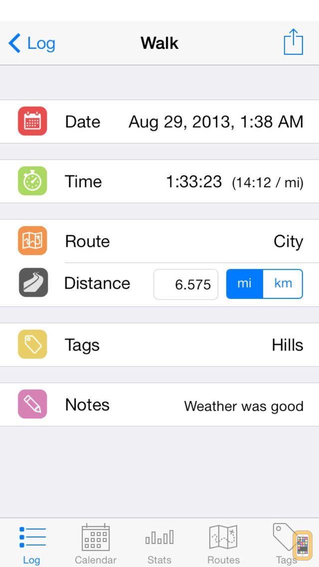 Screenshot - Walk Log