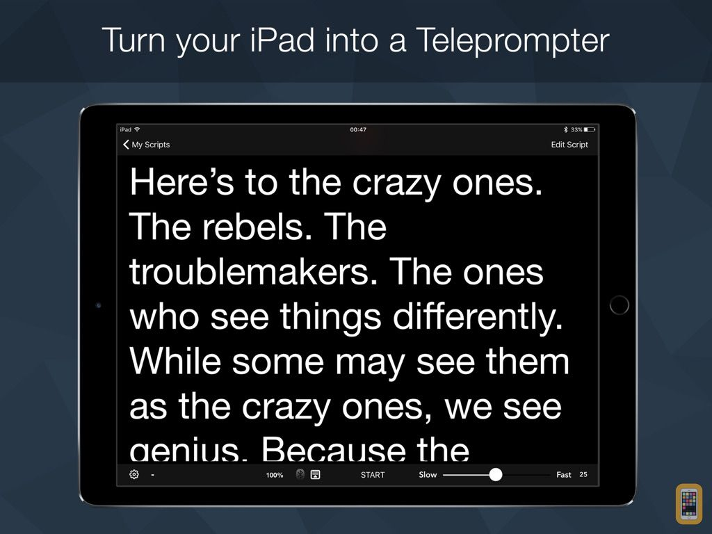 Screenshot - Teleprompter Pro - Scripts, Lyrics & Speech Mirror Prompter