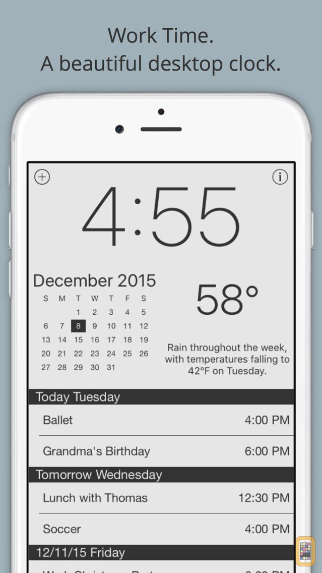 Screenshot - Work Time - Elegant desk top clock with calendar and weather