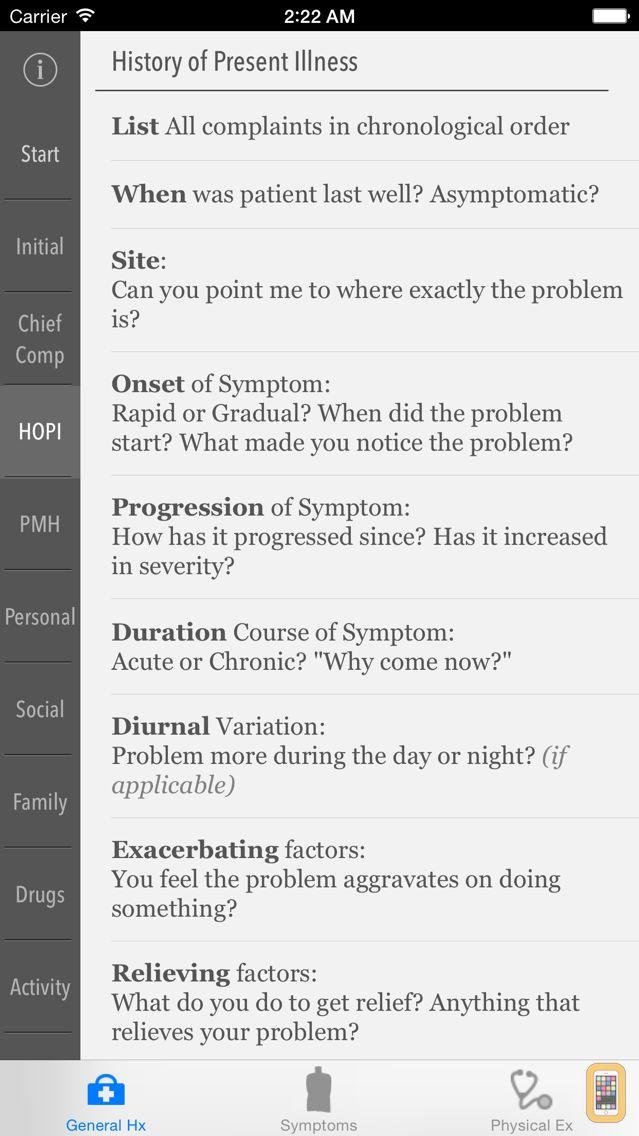 Screenshot - Clinical Skills - History, Symptoms & Physical Examination
