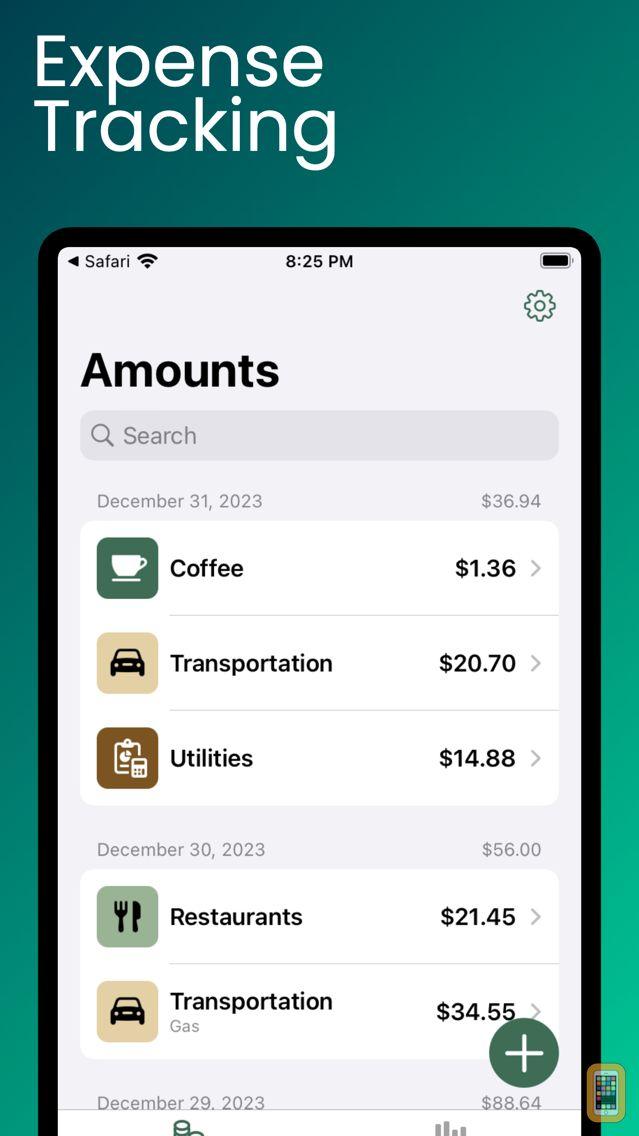 Screenshot - Amounts ~ Personal Expense Tracking